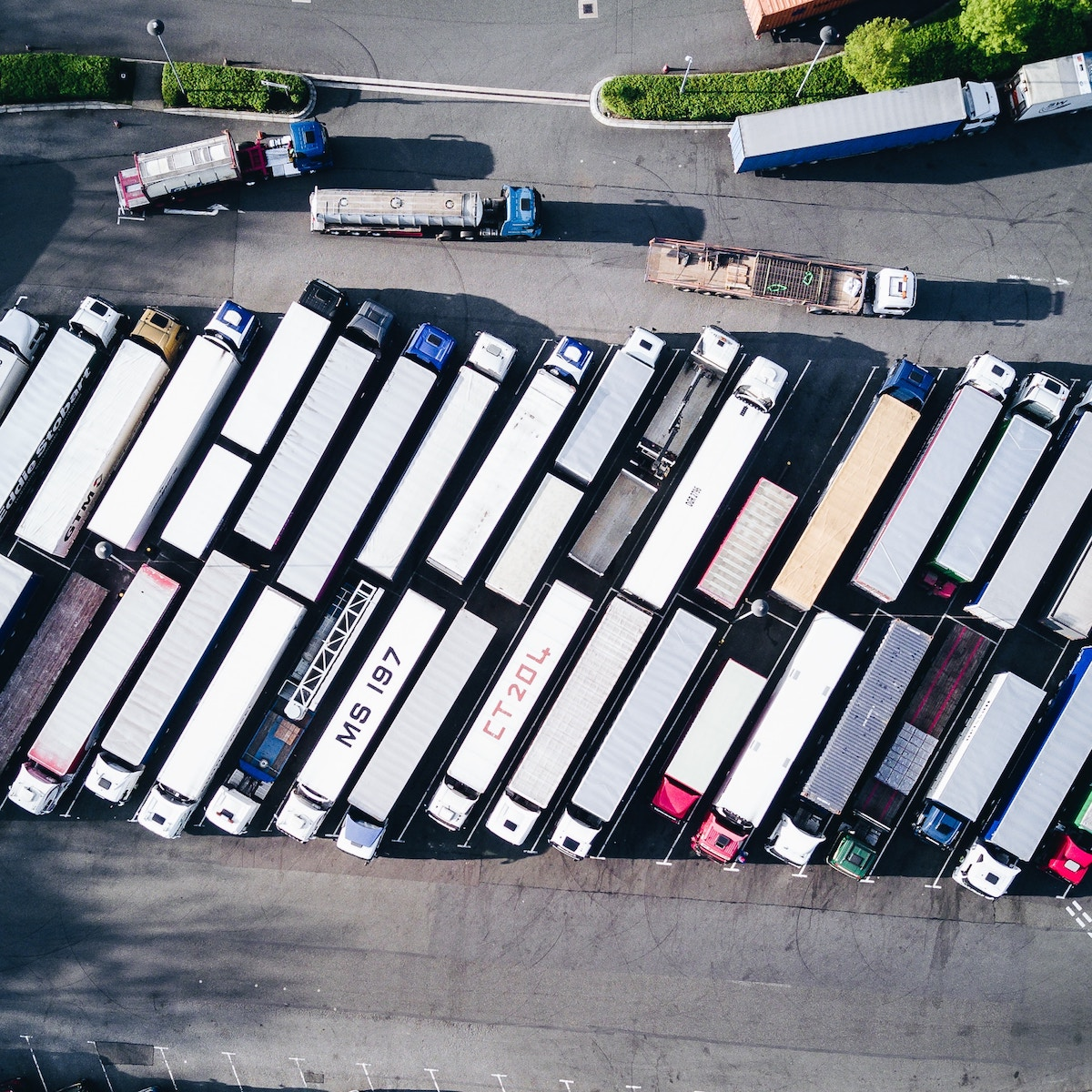 Arial shot of shipping trucks