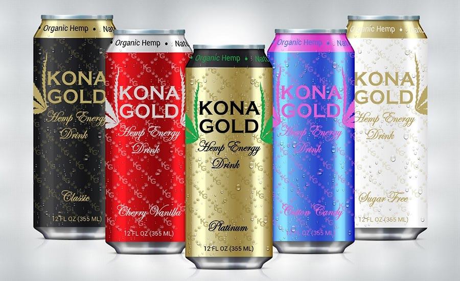 Kona Gold Hemp Beverages Sign with Budweiser Distributor