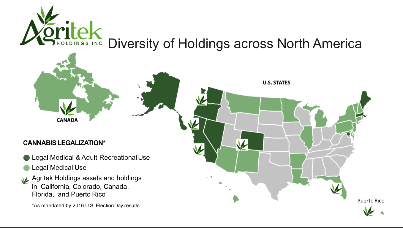 Agritek Holdings Inc., Capitalizing On New State Law To Acquire Recreational Manufacturing License