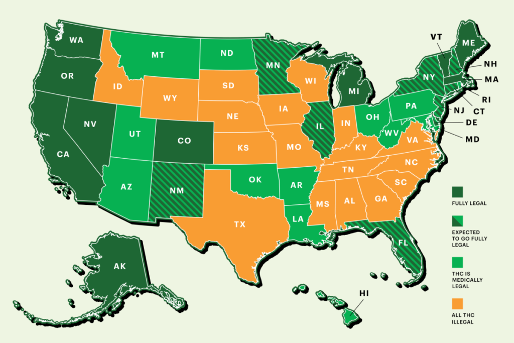 Cannabis Legalization in USA - State By State